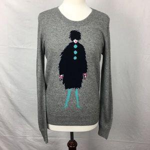J.Crew Gray Warmspun Intarsia French Lady Sweater